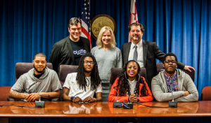 All assembled, from left: Leonard Williams (Laertes): Alex Zavistovich, Molotov Theatre Group Artistic Director; Jovon Johnson (Hamlet); Jennifer Restak (Ballou STAY teacher, English Language Arts); Laray Barnes (Gertrude); DC Councilmember David Grosso; Aaron Long (Claudius)